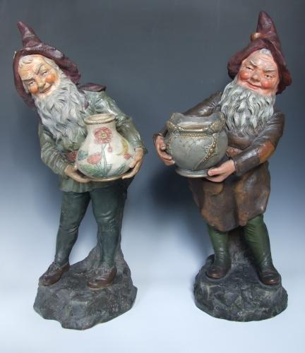 Pair of painted Austrian terracotta gnomes