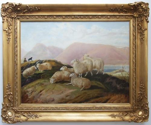 Large naive sheep by loch painting