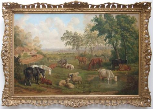Landscape with farm animals by E B Herberte
