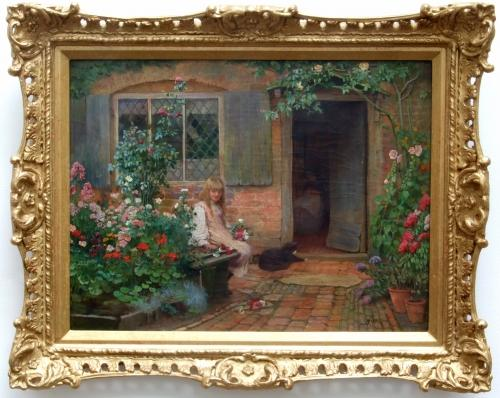 Oil study of girl in country cottage garden