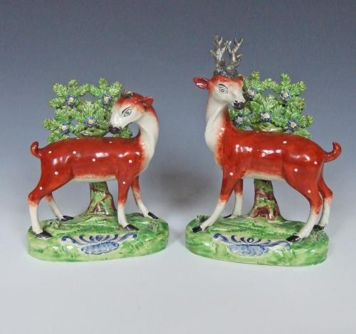 Early Staffordshire stag figures