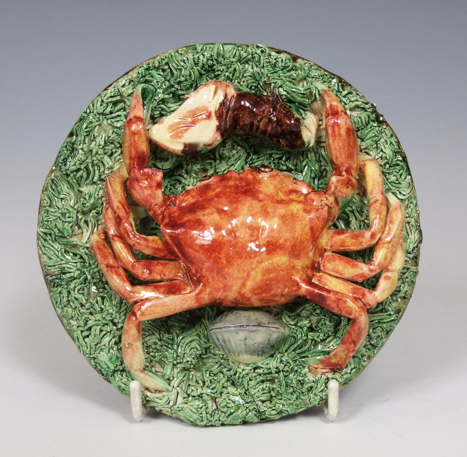 Rare Portuguese Palissy crab plate