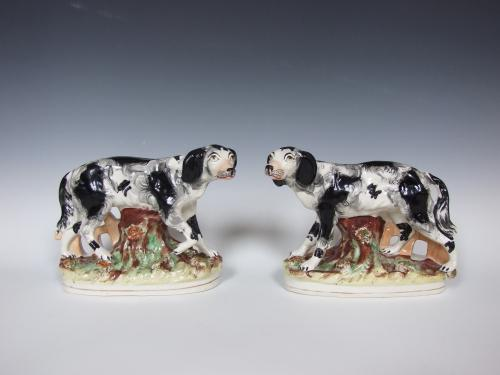 Very rare large Staffordshire setters