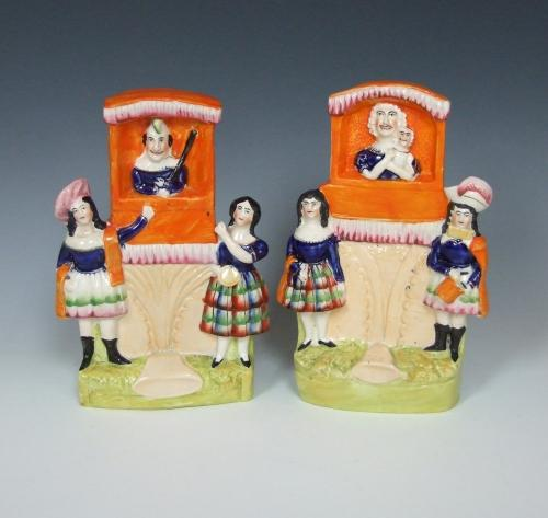 Rare Staffordshire Punch & Judy booth figures
