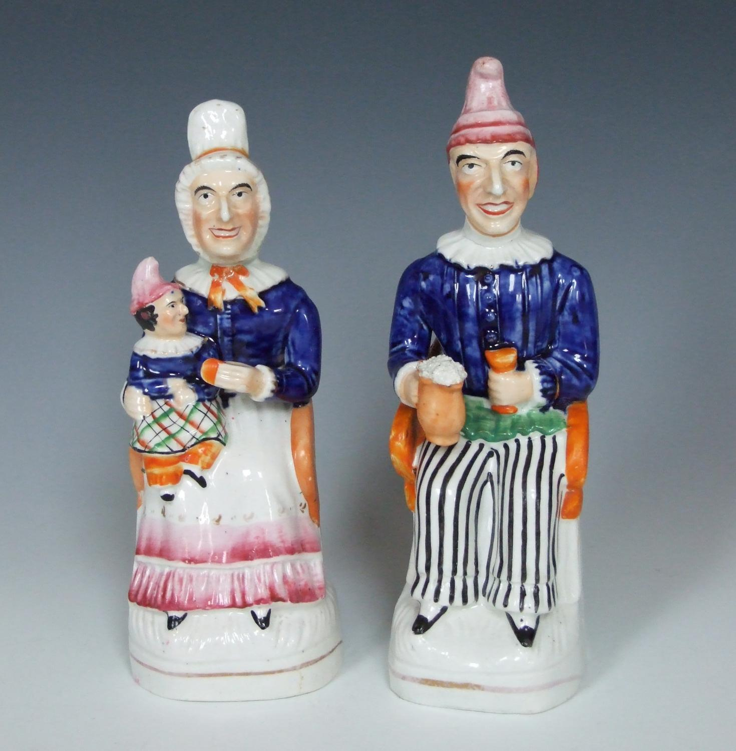 Very rare pair of Punch & Judy Staffordshire