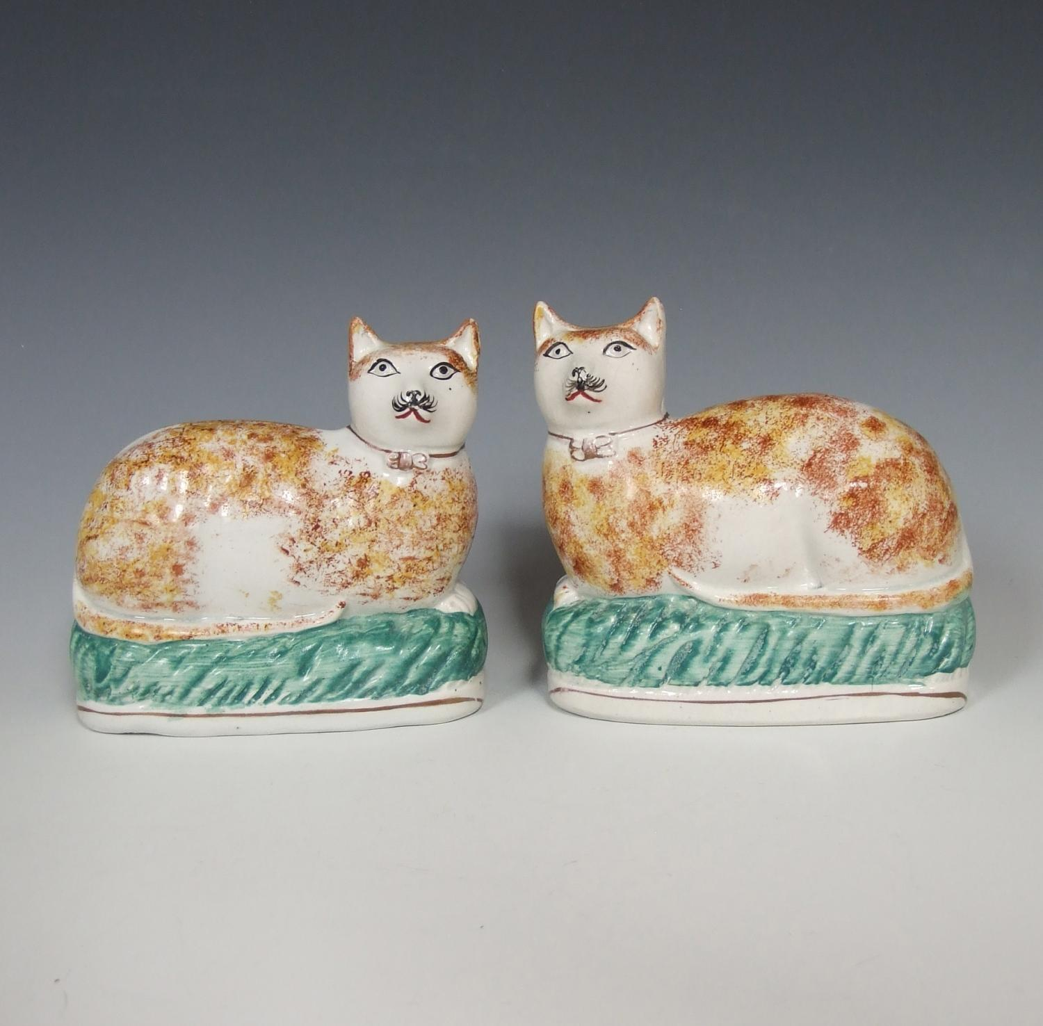 Very rare pair of Staffordshire cats