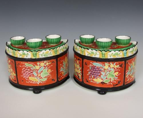 Pair of early pearlware bough pots