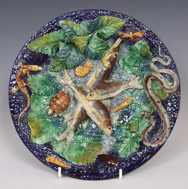 Fine Thomas Sergent Palissy fish plate