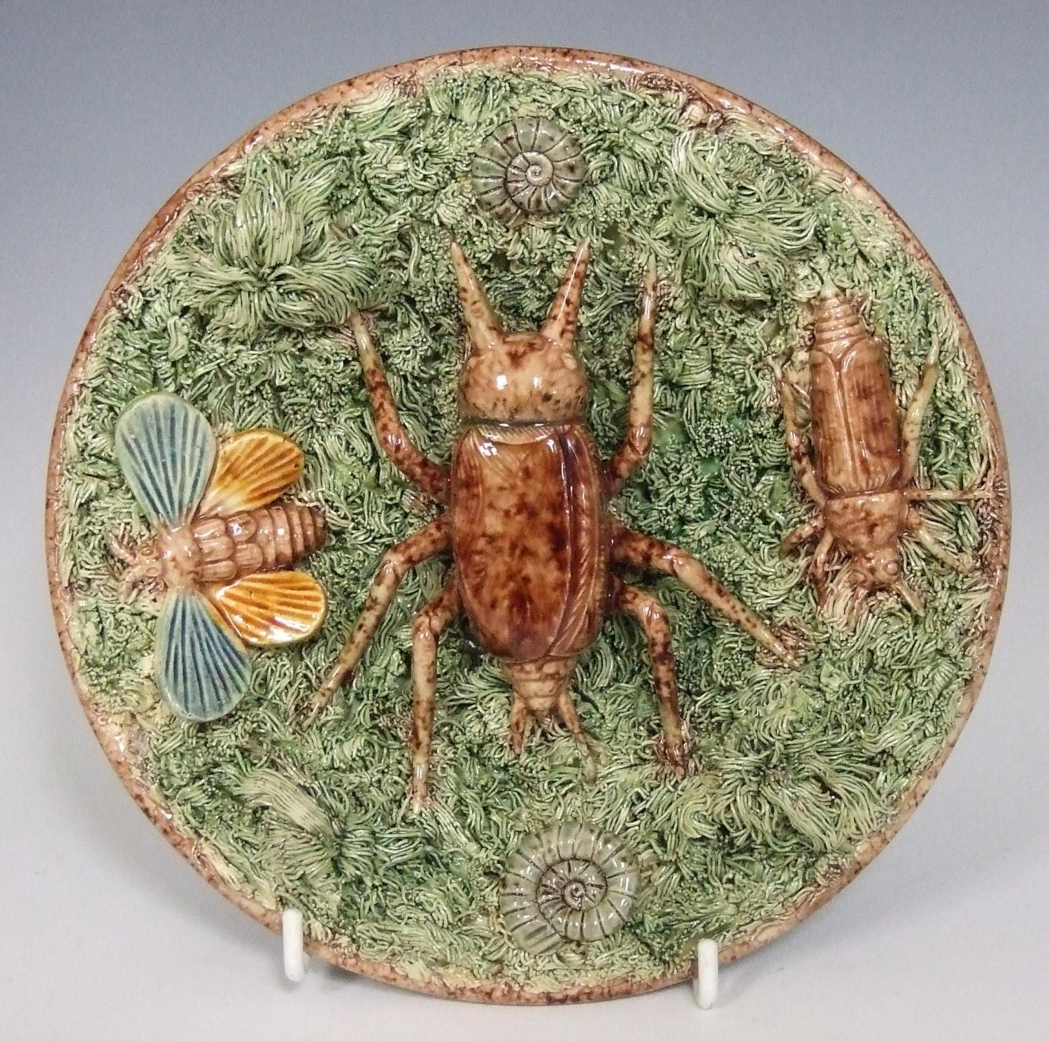 Rare Portuguese Palissy insect motif plate