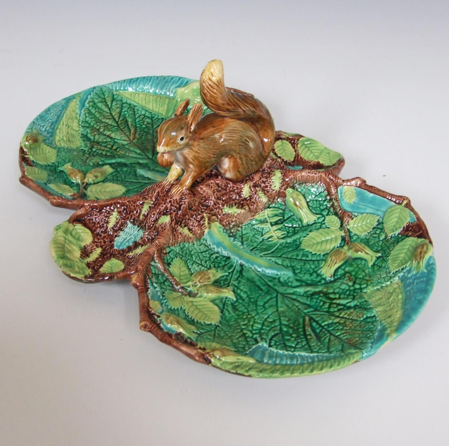 Rare George Jones majolica squirrel nut dish
