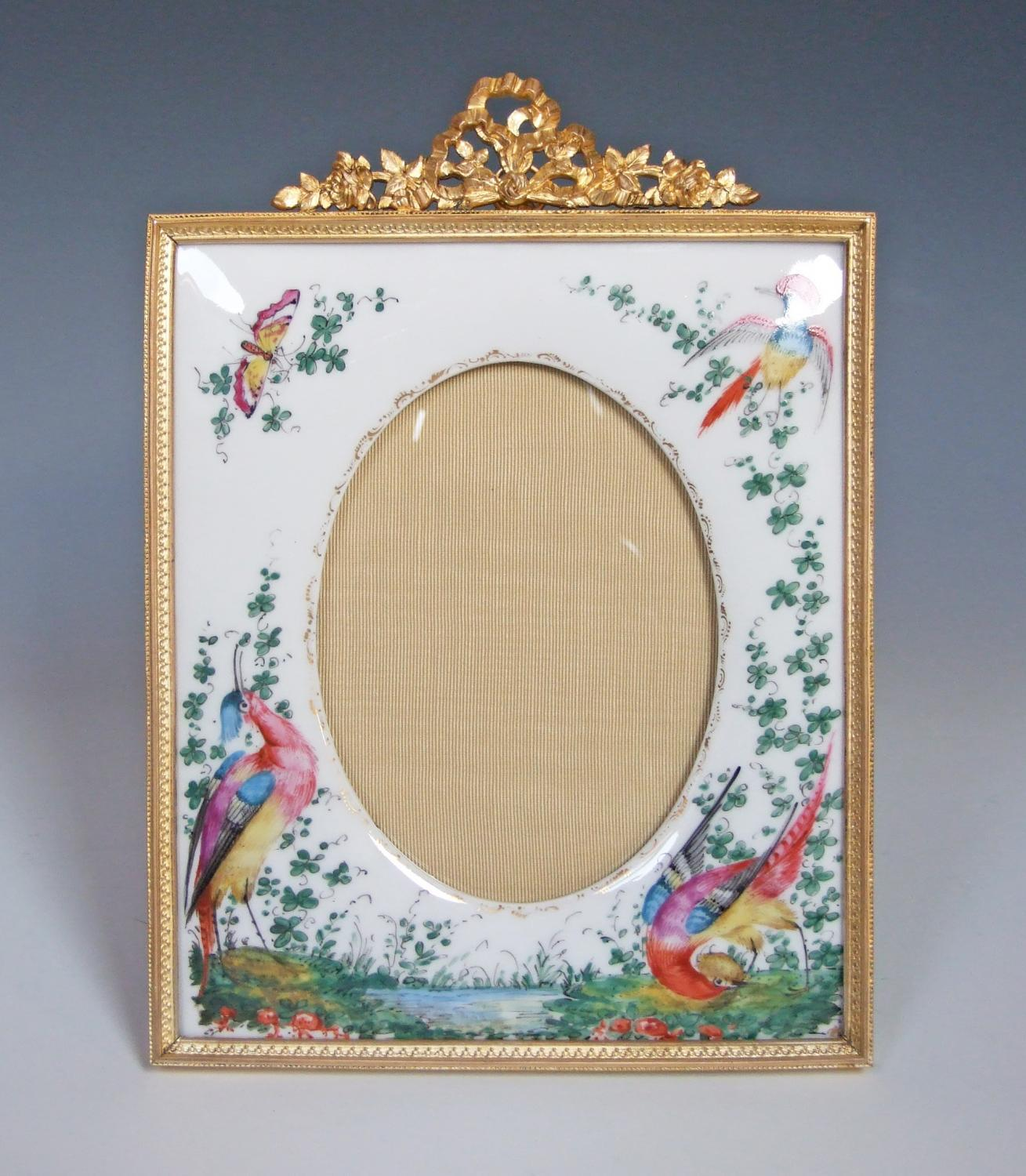 Fine painted porcelain & ormolu photoframe
