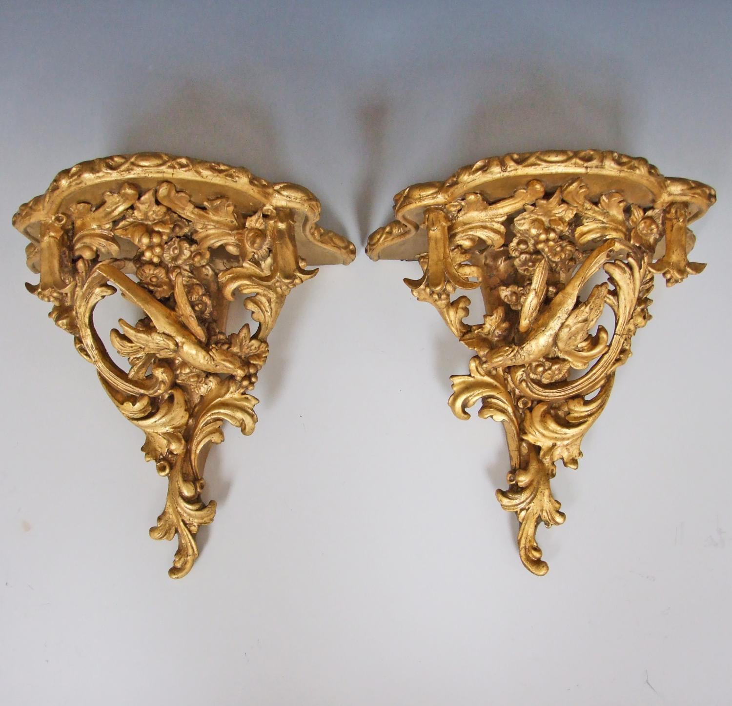 Large pair of gilded pheasant effect brackets