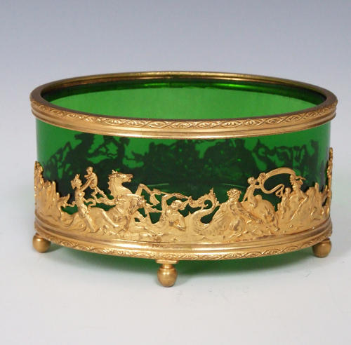 Emerald green glass and ormolu bonbon dish