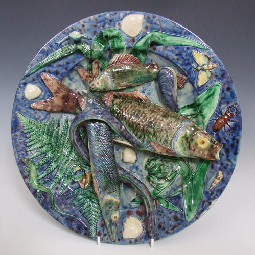 Large  French Palissy fish charger