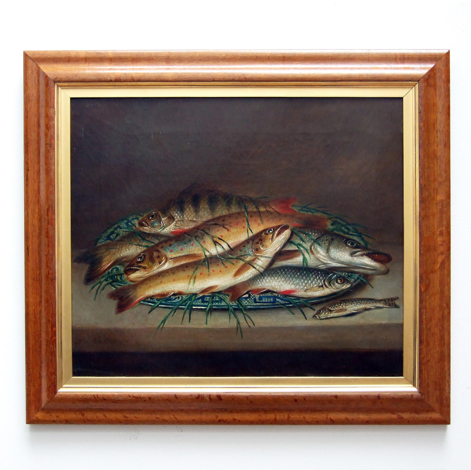 Fine oil painting of fish by Edward Coleman (1795-1867)