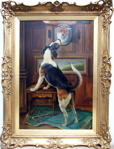 Fine 19thC oil painting of foxhound by Alfred William Strutt.