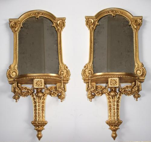 Fine & rare pair of 19thC large mirror brackets