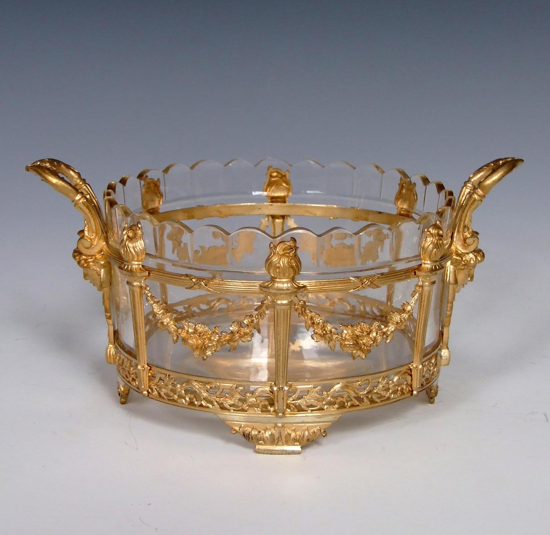 Fine Empire style cast ormolu and glass circular bonbon dish.