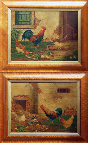 Charming pair of naive oil paintings of chickens and chicks.