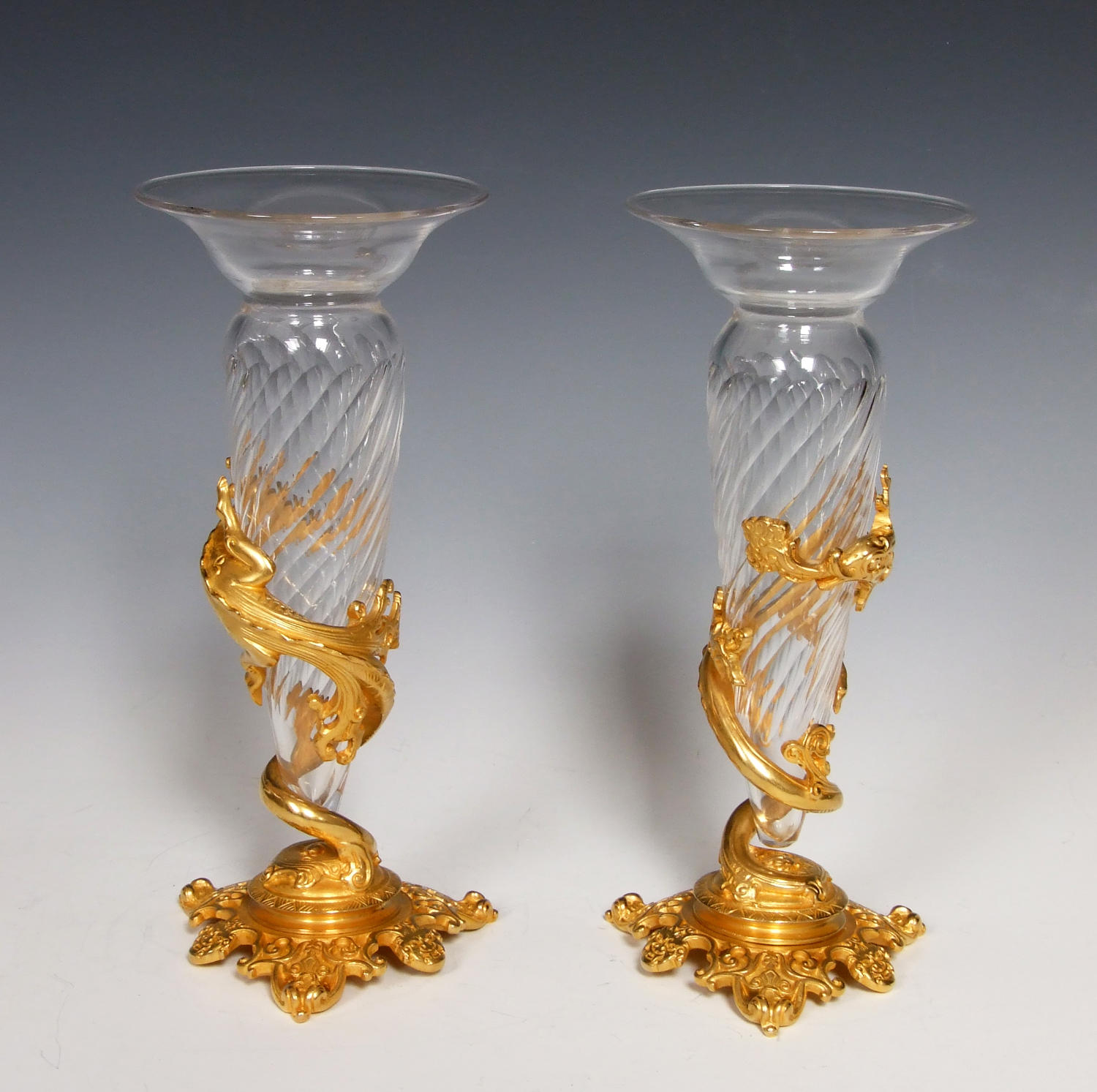 Superb pair of 'Escalier de Cristal' ormolu and glass dragon vases