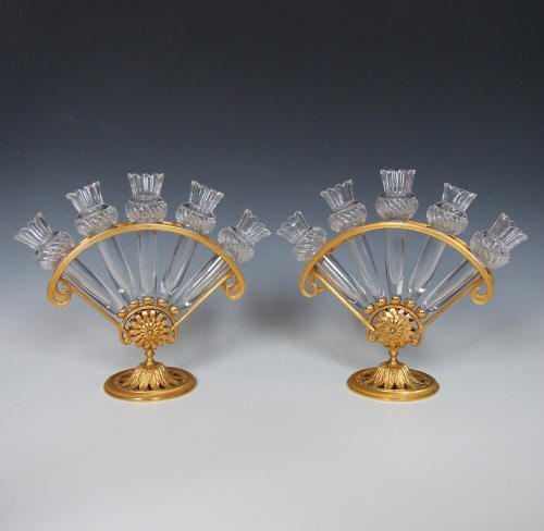 Rare pair of ormolu & crystal glass 'fan' epergnes