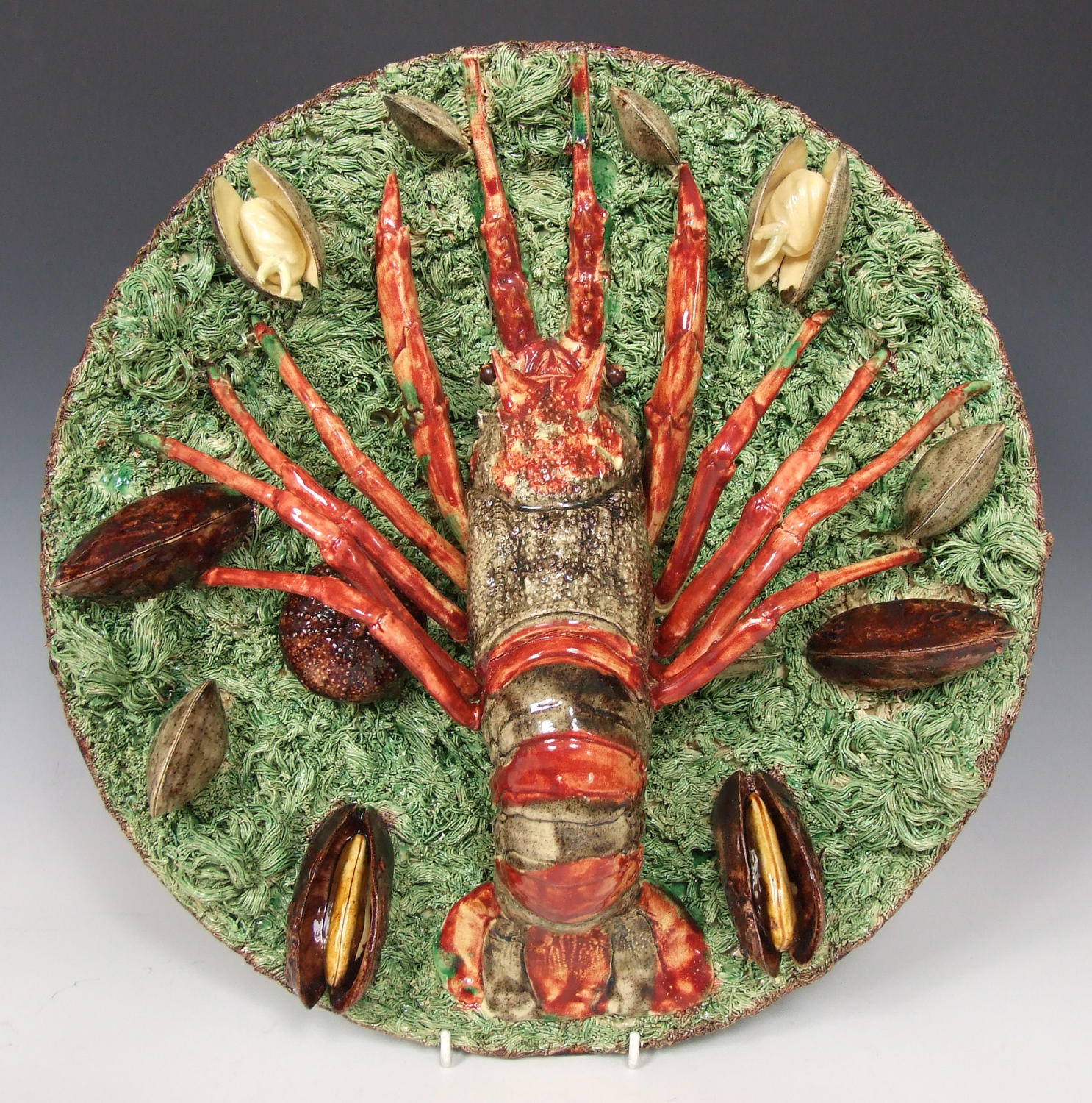 Magnificent & large Portuguese Palissy crayfish charger
