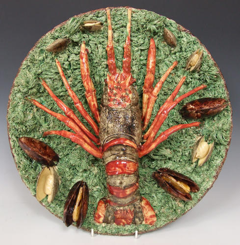 Large & magnificent Portuguese Palissy crayfish charger