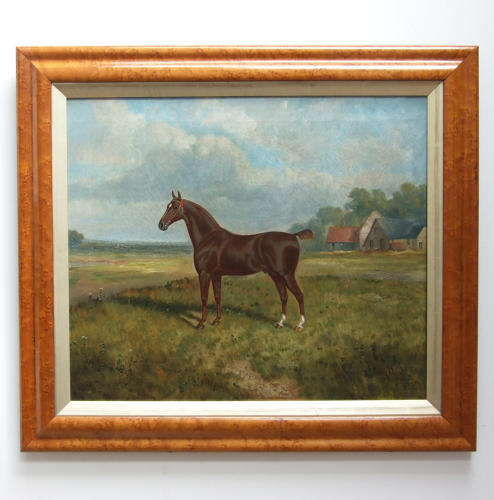 Oil portrait of horse in landscape by James Clarke