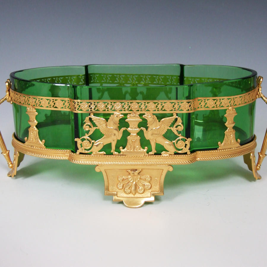 Fine ormolu & emerald green glass  'flambeau' bonbon dish