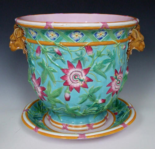 Beautiful Minton majolica passion flower motif jardiniere on stand