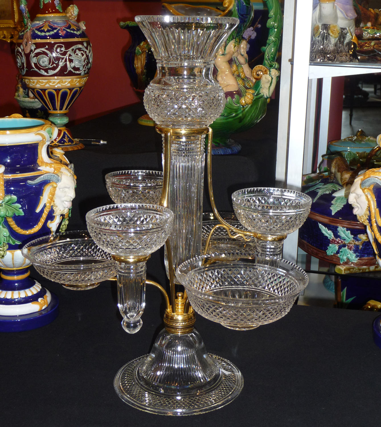 Phenomenal cut crystal & ormolu epergne