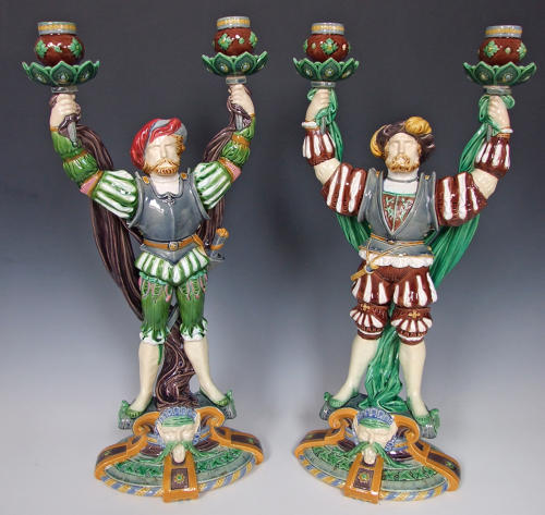 Important pair of Minton majolica Tudor style candelabra