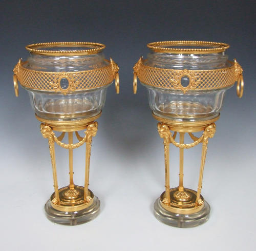 Exceptional pair of crystal glass cachepots on stands