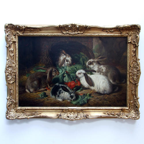 Fine oil painting of a family of rabbits by A R Barber
