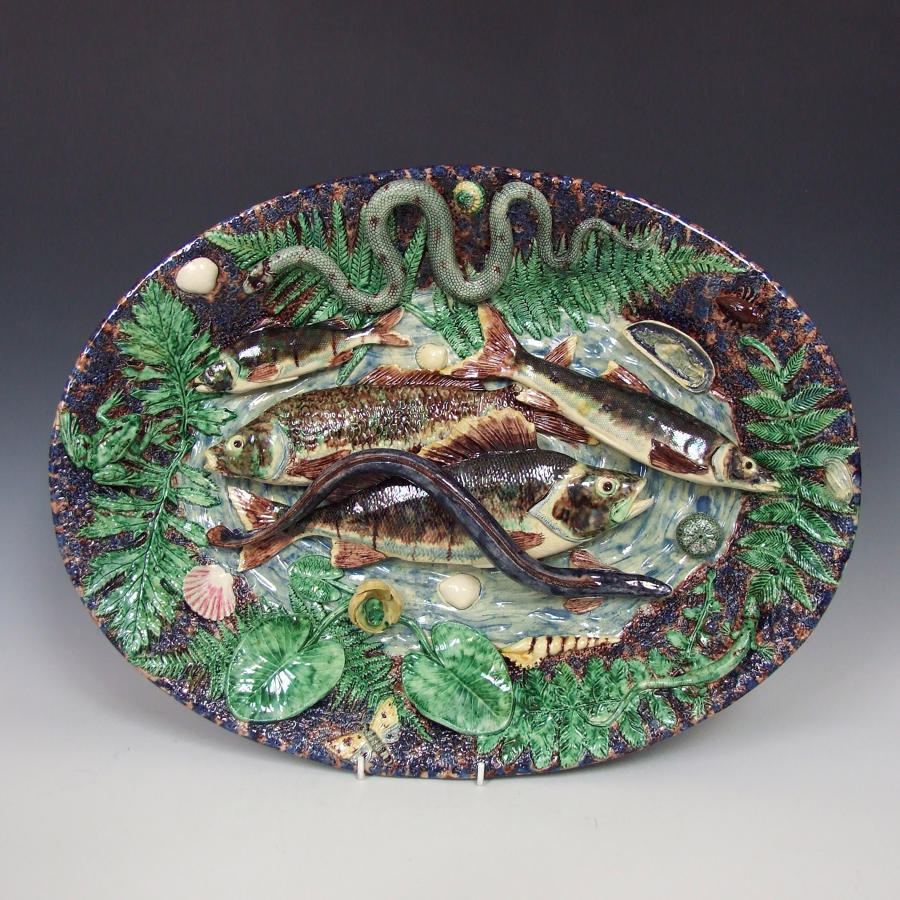 Very fine Barbizet French Palissy fish motif large charger