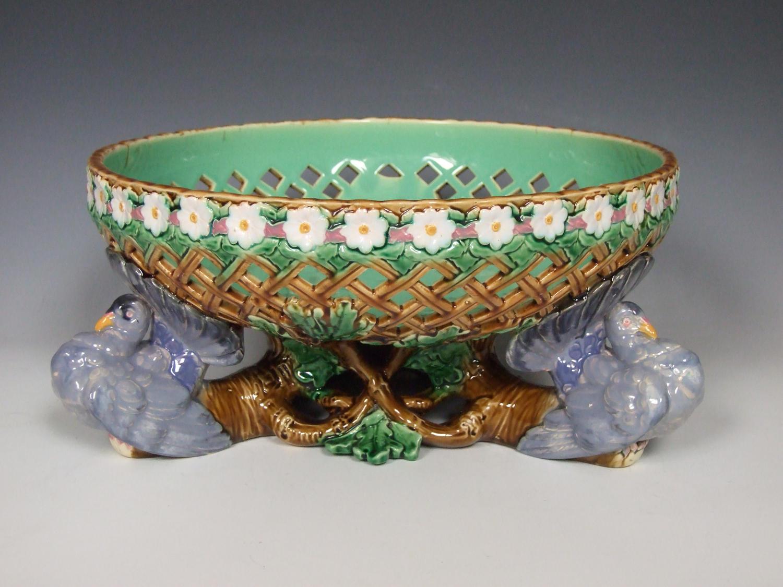 Minton majolica pierced fantail pigeon bowl