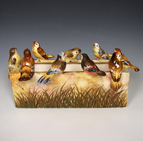 Jerome Massier bird motif majolica planter