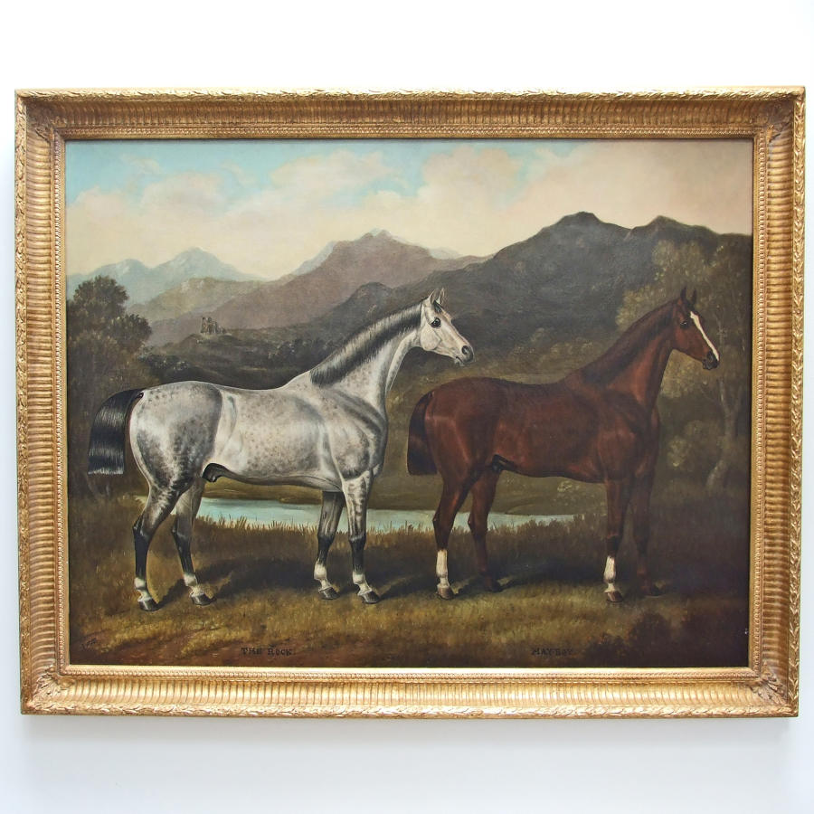 Fine, large, double horse portrait by Samuel Spode