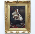 Charming oil painting of foxhound puppies by J.Vincent - picture 1