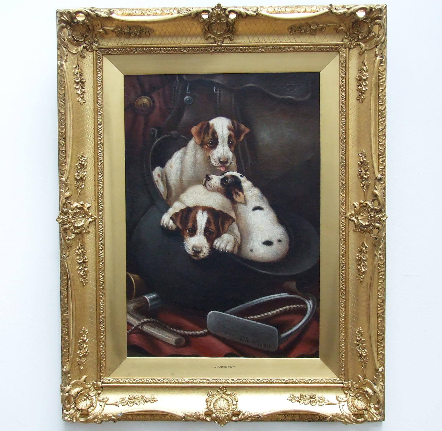 Charming oil painting of foxhound puppies by J.Vincent