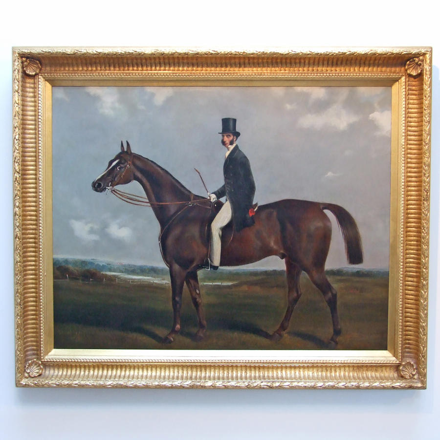 Oil portrait of horse and rider