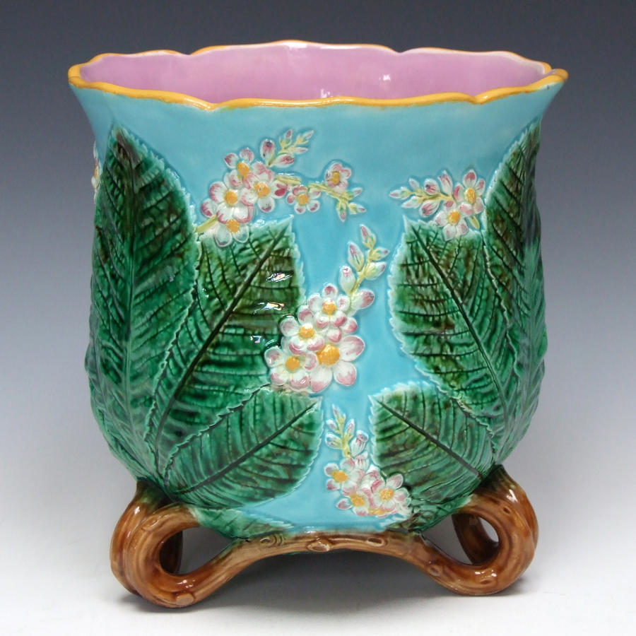 George Jones majolica chestnut blossom jardiniere