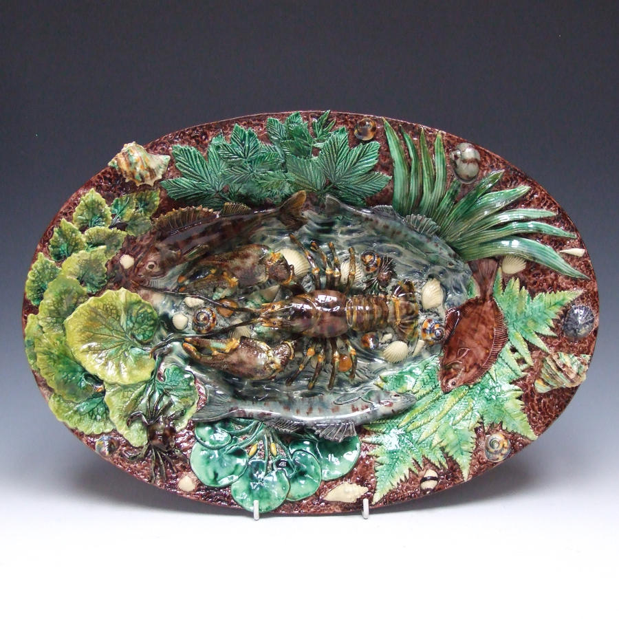 Thomas Sergent large oval Palissy fish charger