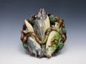 Portuguese Palissy scalloped edge fish plate - picture 1