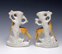 Extremely rare pair of Staffordshire standing giraffe spills - picture 2