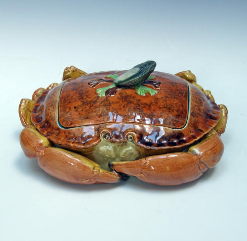 Fabulous Brown Westhead & Moore majolica crab tureen