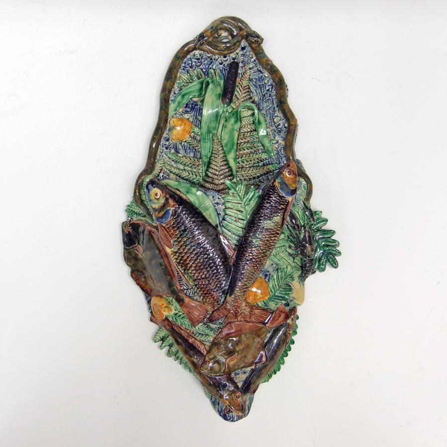 Unusually large Palissy fish motif wall pocket