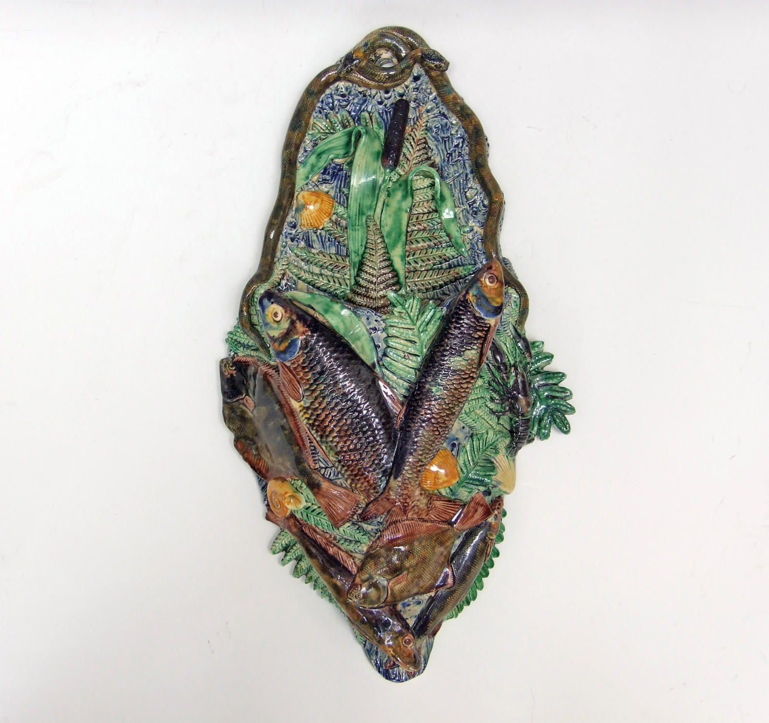 Unusually large Palissy fish motif wall pocket