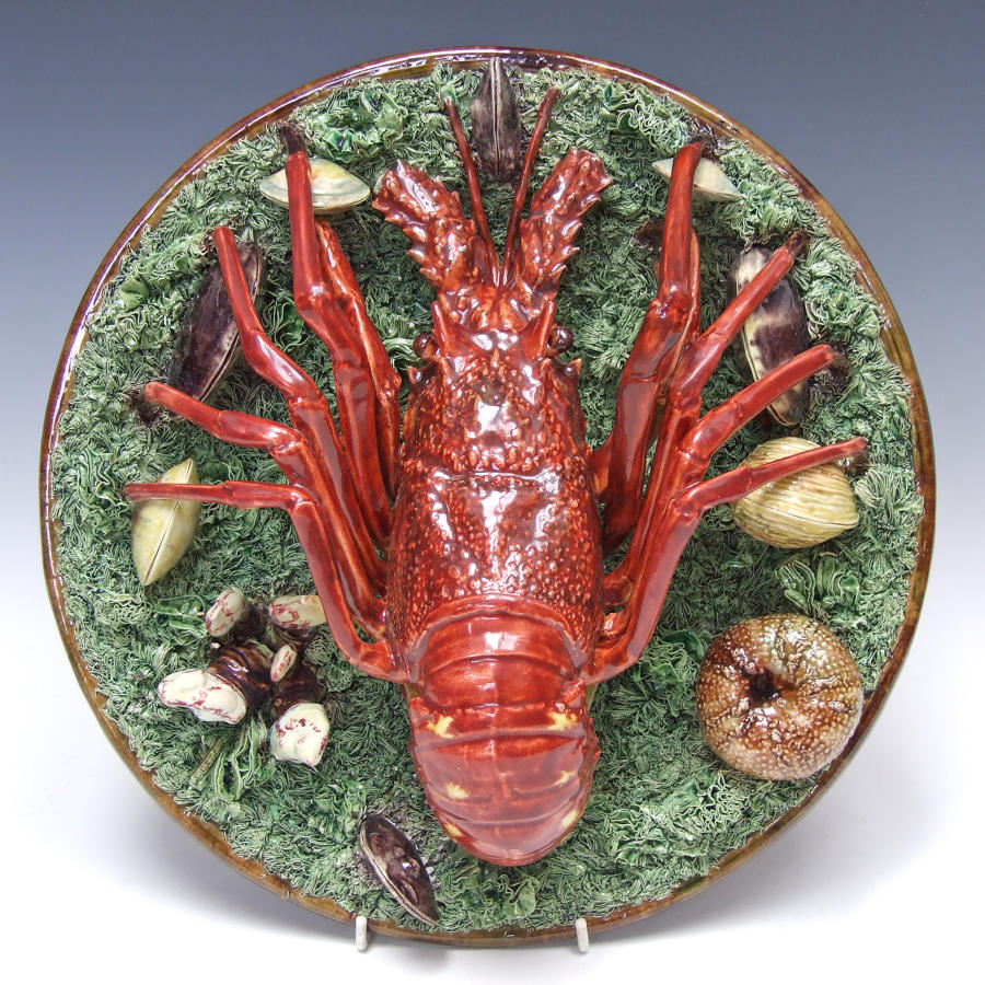 Stunning large Palissy crayfish charger