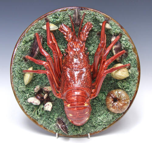Stunning large Palissy crayfish charger